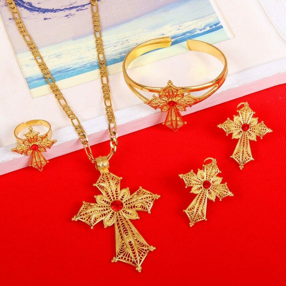 Ring-Bangle Necklace Earrings Cross-Jewelry-Set Habesha Ethiopian Wedding-Gifts Africa