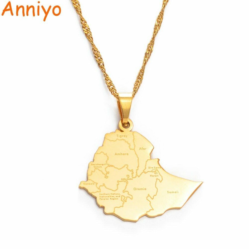 Anniyo Ethiopia Map Cities Pendant Necklaces for Women Men Gold Color Ethiopian Maps