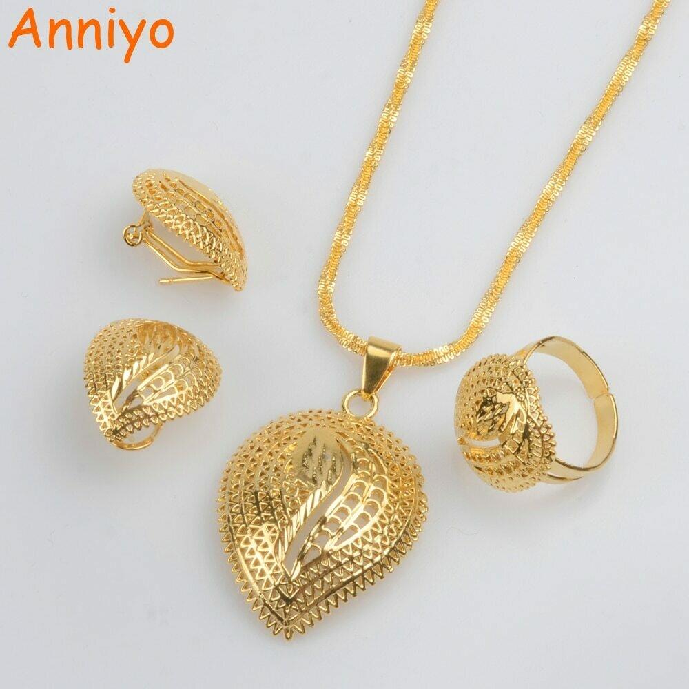 Jewelry-Sets Earrings Ethiopian Necklace Habesha Eritrean African Anniyo Gifts Wedding