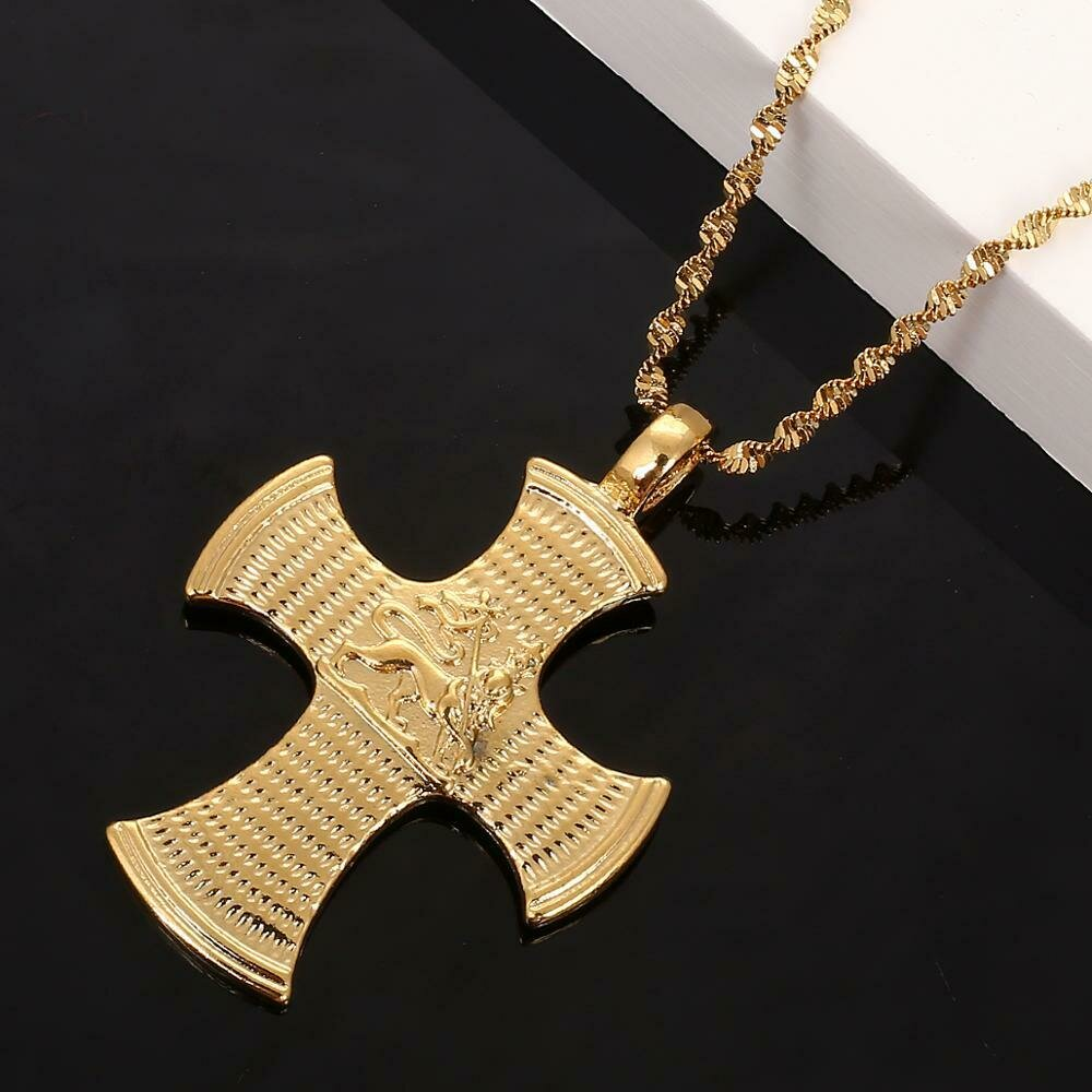 Ethiopian Lion Cross Pendant Necklace for Women Men Gold Color African Trendy Jewelry