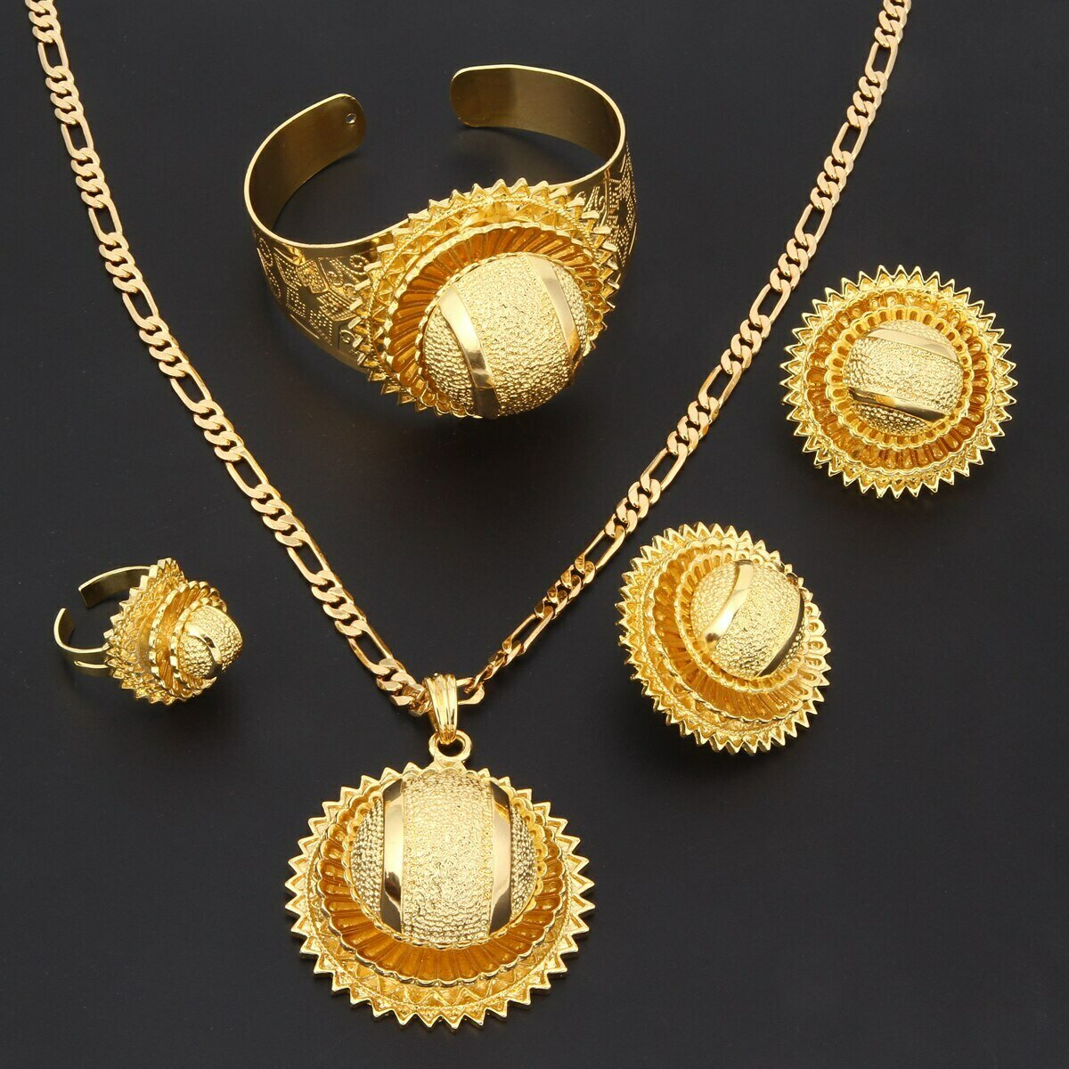 Ring-Bangle-Set Jewelry Ethiopian Earring Necklace-Clip Pendant Brass Trendy