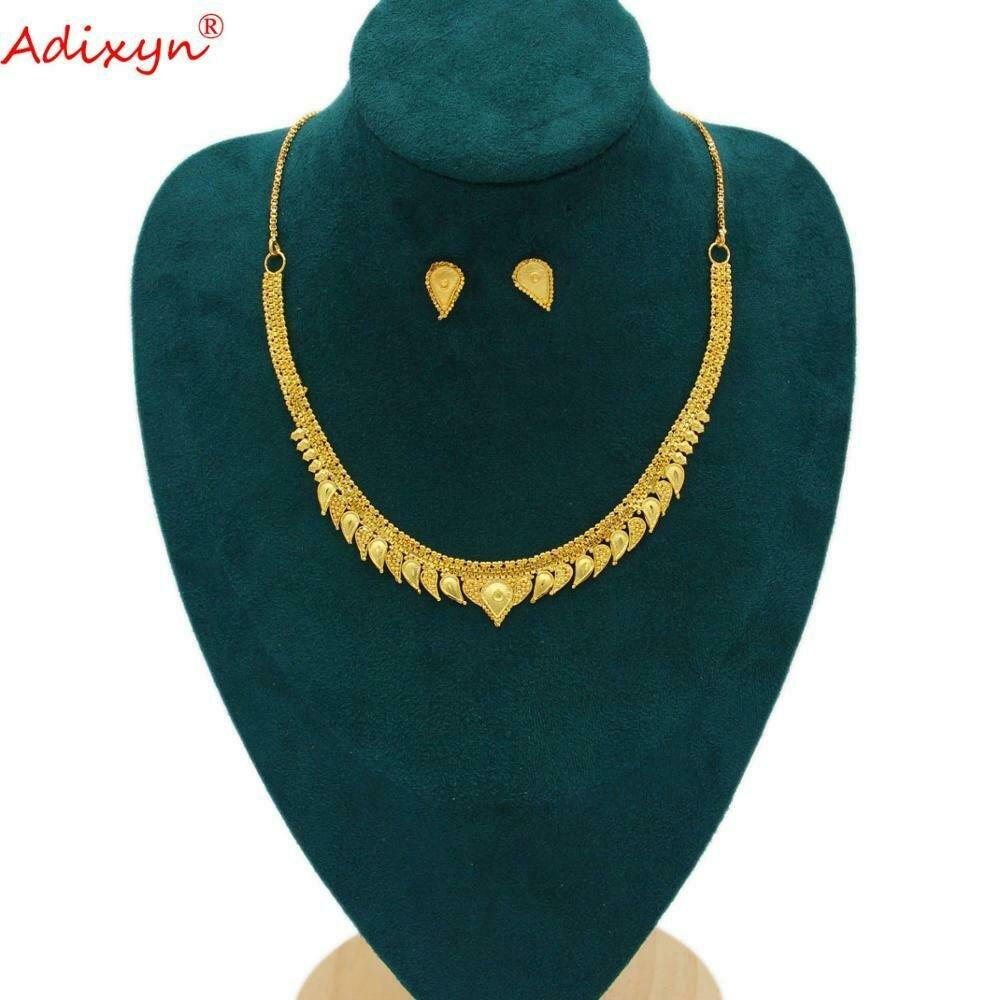 Wedding-Jewelry-Set Ethiopian Neck-Chain/earrings Gifts Girls Women Copper-African/dubai