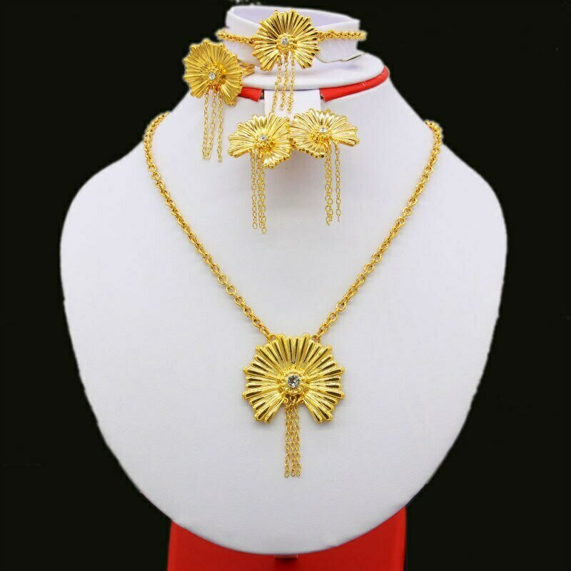 Jewelry-Sets Ethiopian Bride Pendant/earring Wedding-Gifts Gold-Color Women for African