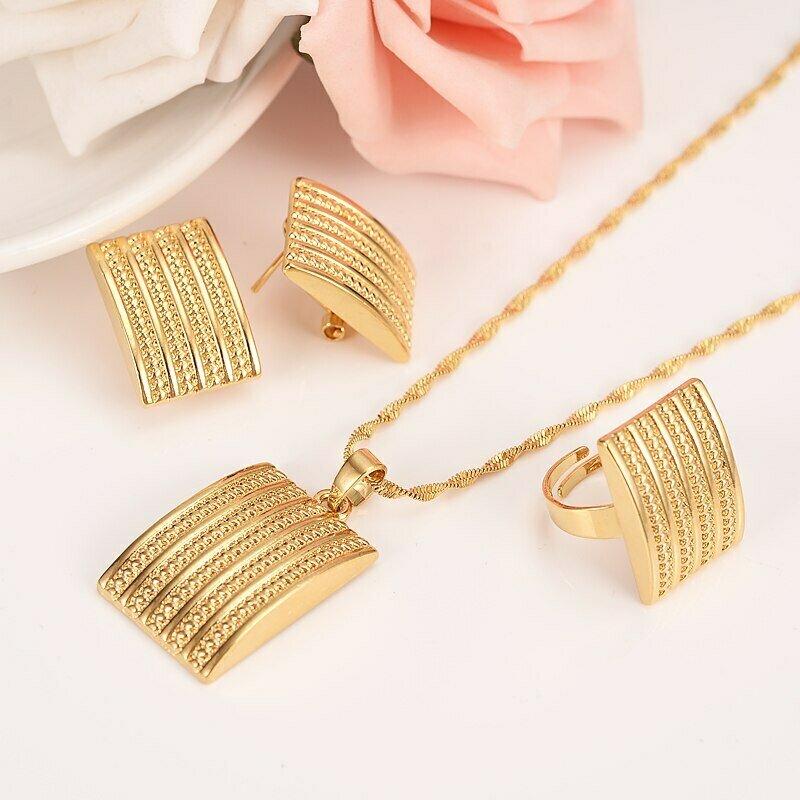 Ethnic Jewelry Habesha Ethiopian Gift Gold-Filled Bridal African Women Big Wedding Geometry
