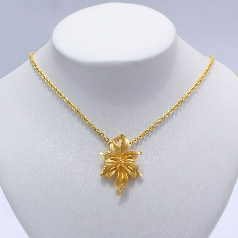 Jewelry Necklaces Flower-Pendant Ethiopian Romantic WANDO Gold-Color Womens for Girls
