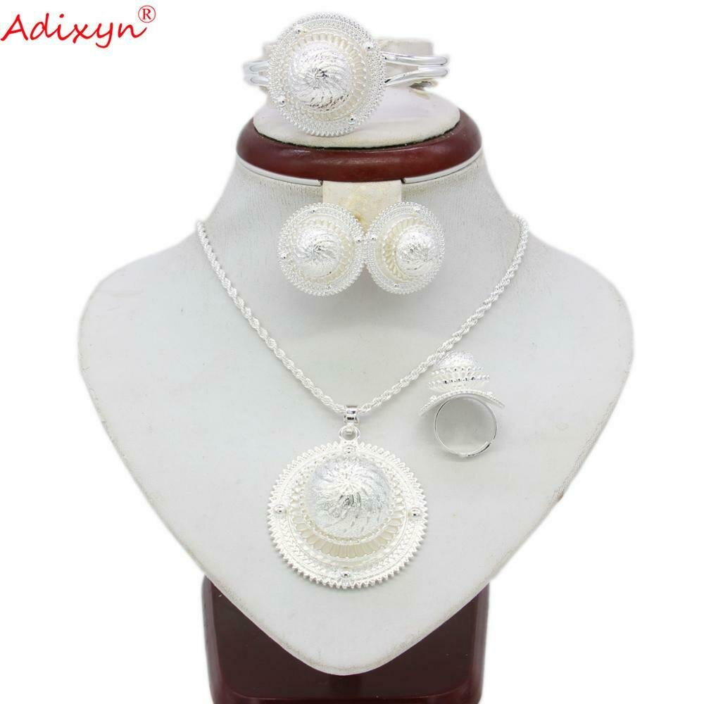Jewelry-Sets Wedding-Gifts Eritrean Earrings/Ring/bangle Silver-Color African Adixyn
