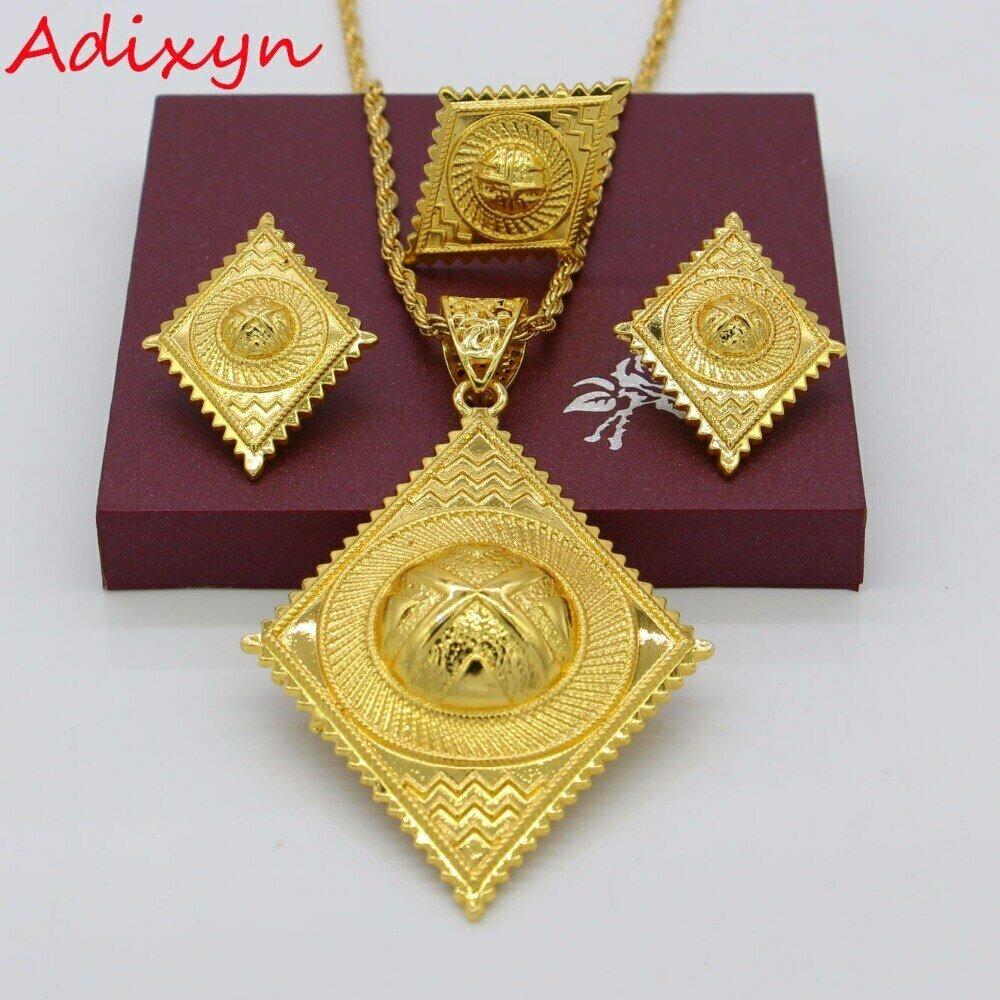 Jewelry-Set Ethiopian Gold-Color Eritrean/arabic Gifts Fashion African Adixyn Wedding