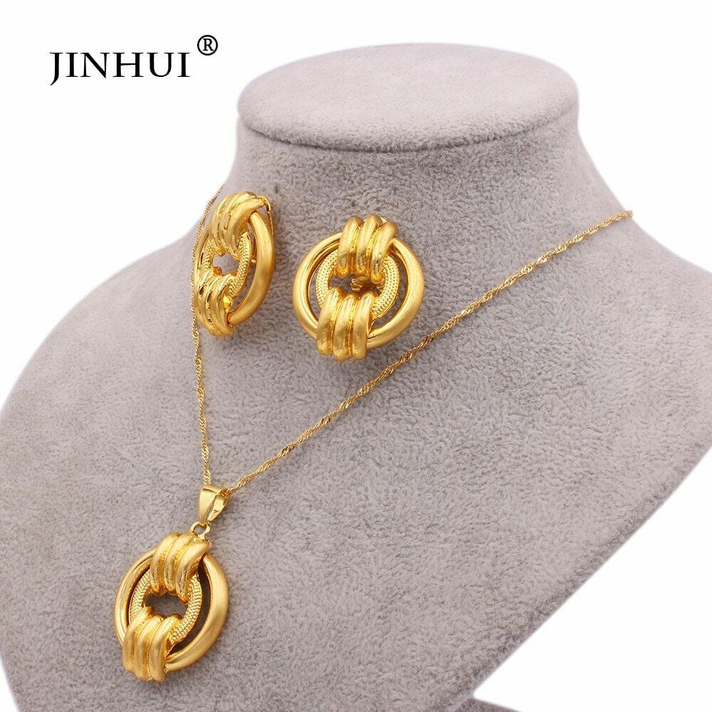 24k-Jewelry-Sets Necklace Earrings Bridal-Ethiopian Pendants Wedding-Gift-Set Gold-Color