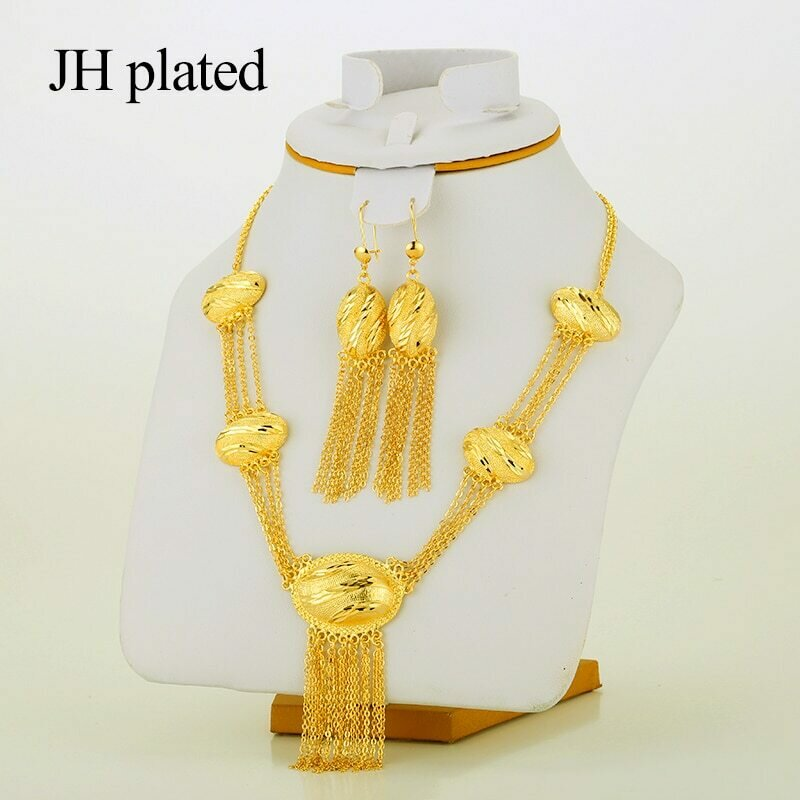 Jewelry-Set Ethiopian Nigerian Jhplated Dubai Tassel-African Gold-Color Wedding