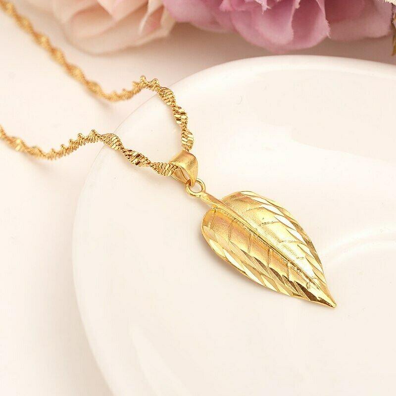 Pendant Necklace Ethiopian 18-K Jewelry Yellow Women Solid Gifts India Dubai Fine Africa/arab