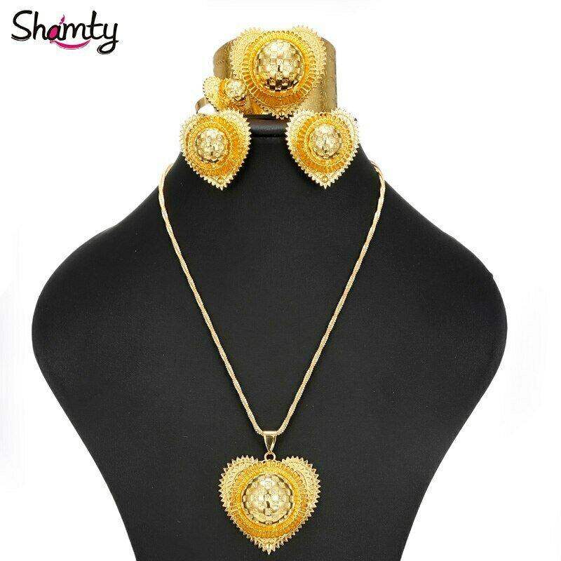 Jewelry Ethiopian-Sets African Gold-Color-Set Heart-Shaped Wedding Women Shamty for Habasha-Style
