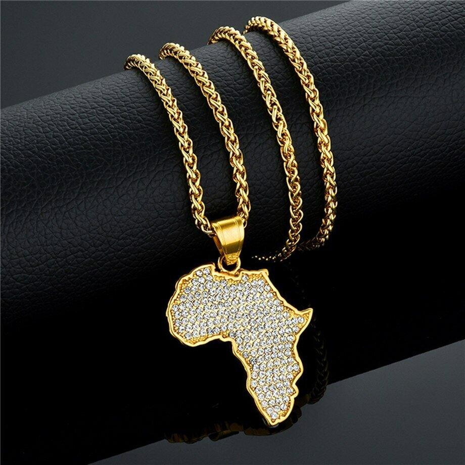 Africa Map Pendant Necklace Bling Jewelry for men Women Ethiopian Jewelry Wholesale African