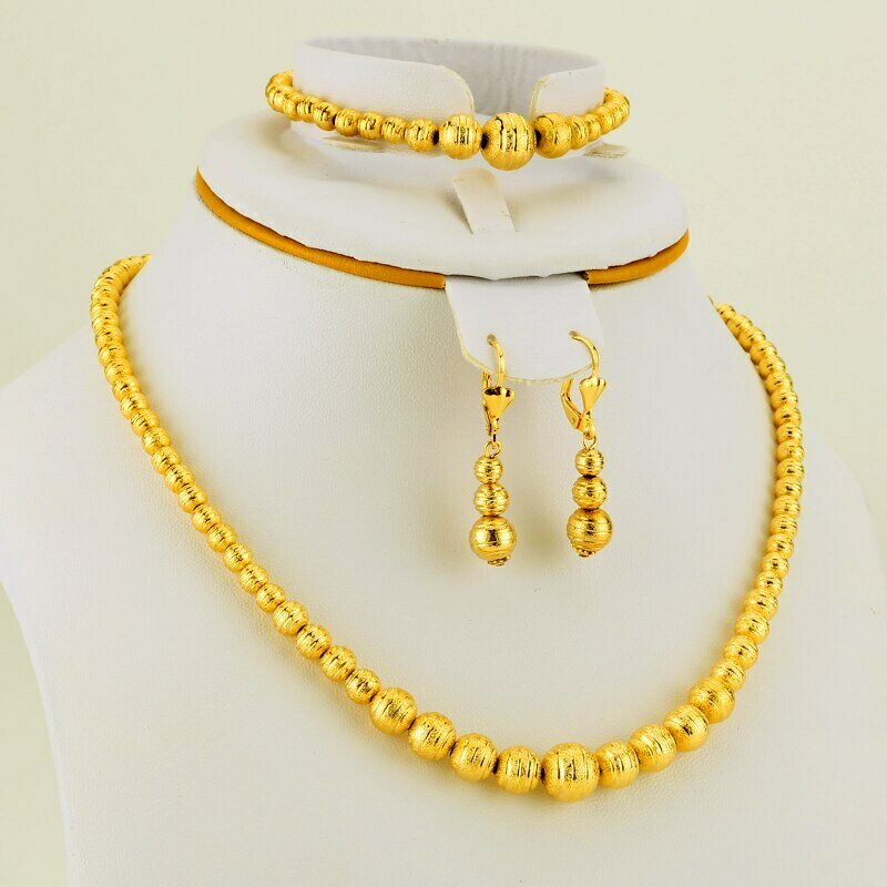 JHplated Fashion Ethiopian Gold Jewelry Set Ball Women Jewelry Wedding gifts