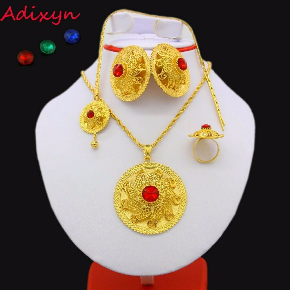 Jewelry-Set Habesha Ethiopian Gold-Color Hair-chain/Earring/ring Adixyn Wedding Easter