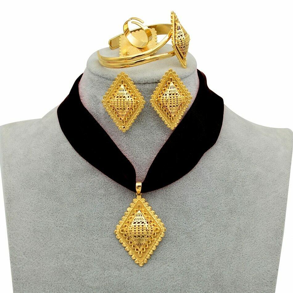 Jewelry-Set Bangle-Ring Necklaces Ethiopian Habesha Eritrea Anniyo Gold-Color Pendant