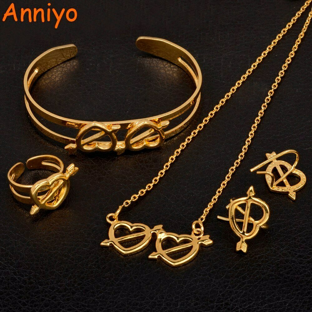 Ring-Bangle Jewelry-Sets Necklace Earrings Ethiopian African Anniyo Gift Gold-Color Kids