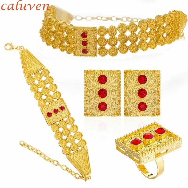 Jewelry-Sets Ethiopian Wedding-Eritrean African Chokers Ring/bracelet Colored-Stone Gold-Color