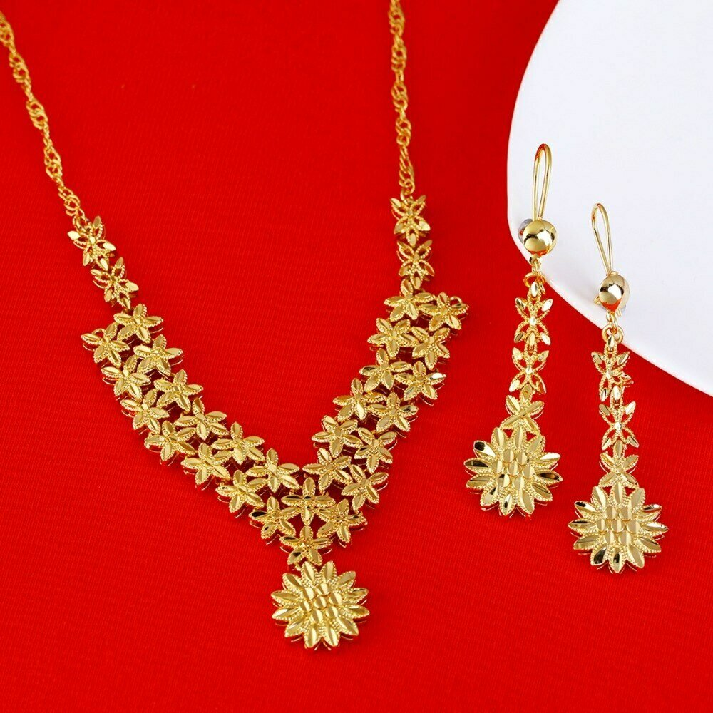 Jewelry-Sets Earrings Ethiopian Bride Arab-Africa 22k Gold Wedding-Necklace Gifts