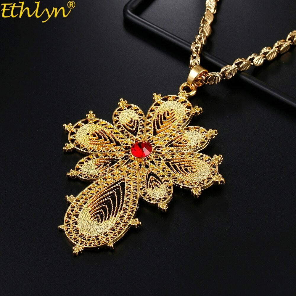 Necklaces Ethiopian Cross-Pendant Ethlyn Gold-Color Women/men for Daily-Use Wear-Accessories/p55