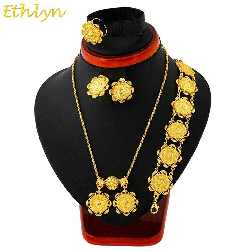 Jewelry-Set Habesha Ethiopian-Coins Wedding-Gifts Africa Ethlyn Earrings/ring/Bracelets