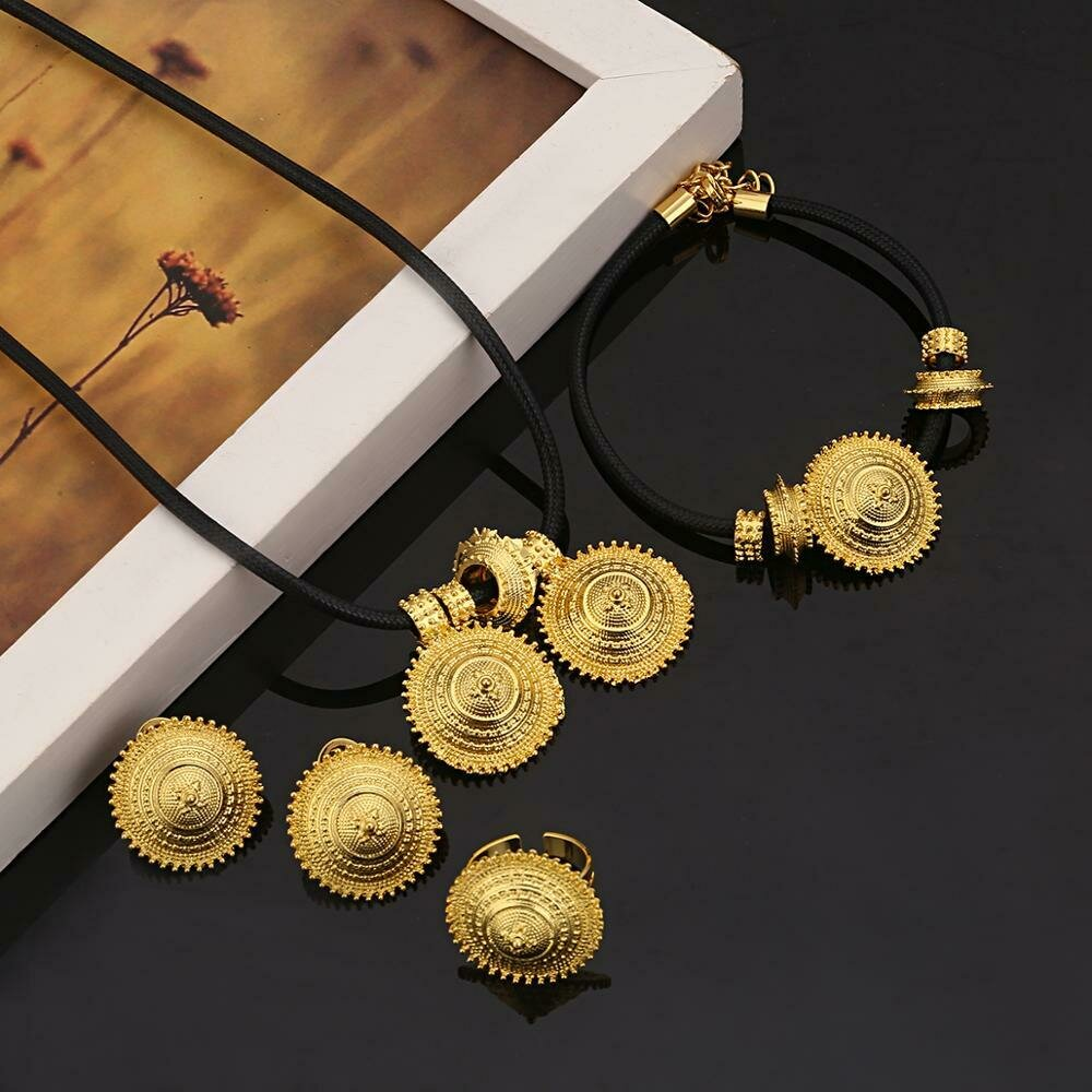Jewelry-Sets Ethiopian Eritrean Wedding-Habesha Bride Gold-Color Women Luxury Engagement