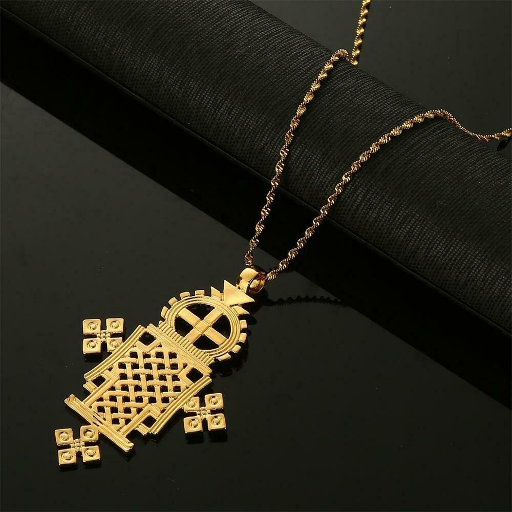 Ethiopian Gold Color Big Cross Pendant Necklaces for Women Men Trendy Eritrea Chain Jewelry