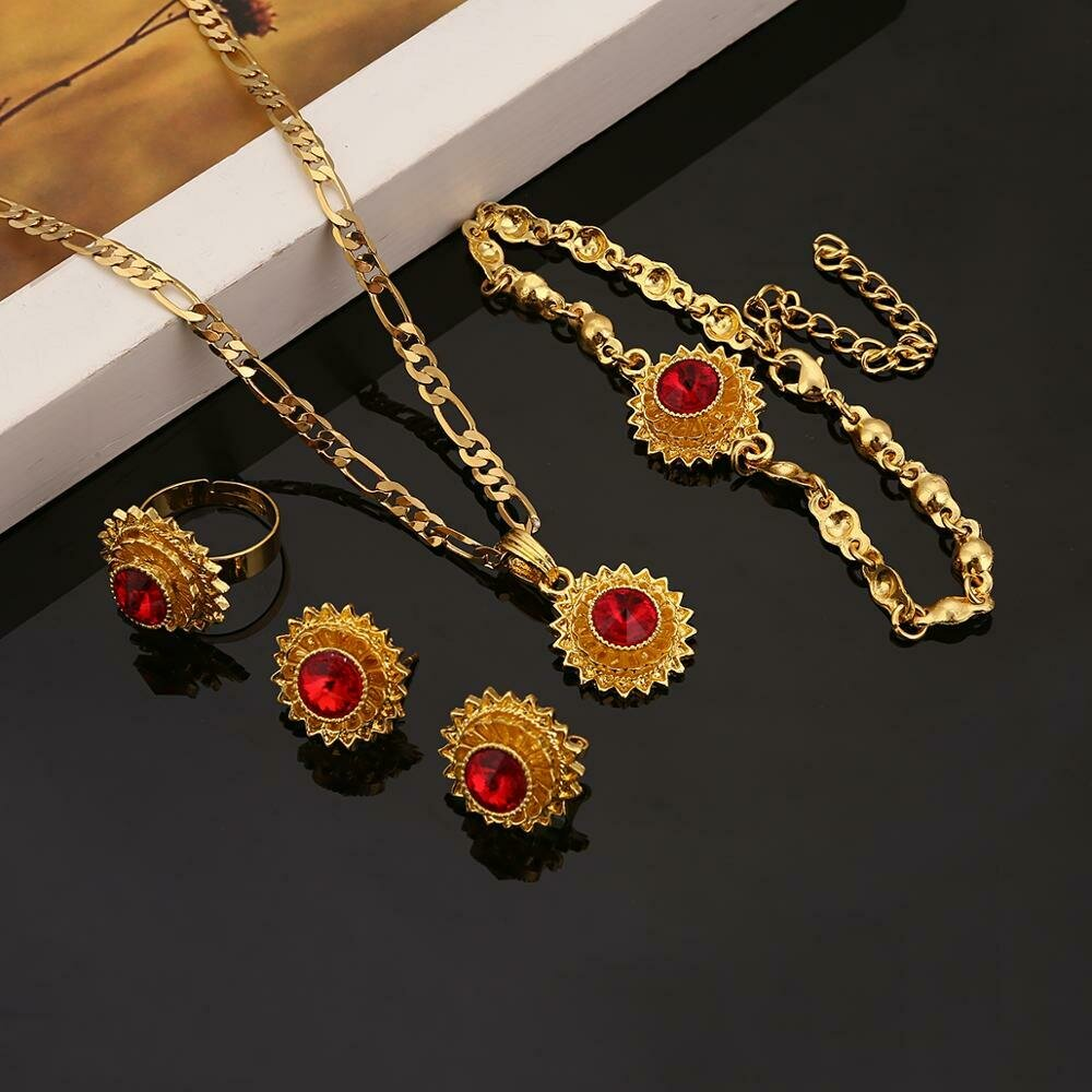 Women Jewelry Ethiopian Eritrean African Fashion Trendy-Stone Gold-Color