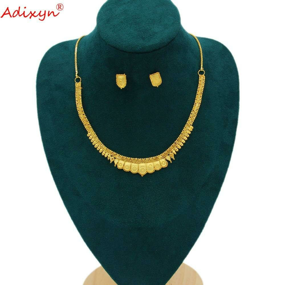 Jewelry-Set Ethiopian Neck-Chain/earrings Girls Gold-Color Women Adixyn Party for Party-Item/n10312