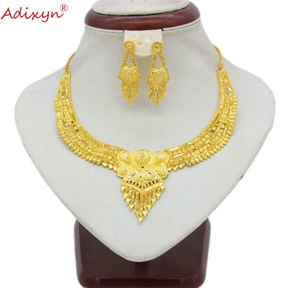 Jewelry-Set Earrings Necklace Gold-Color Ethiopian/arab Wedding/party-Item Women Tassel