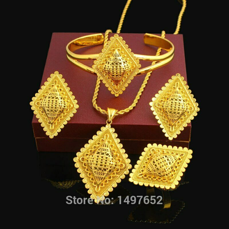Cross-Jewelry-Set Ethiopian Bridal-Wedding-Set Earring/Ring/bangle Gold-Color African
