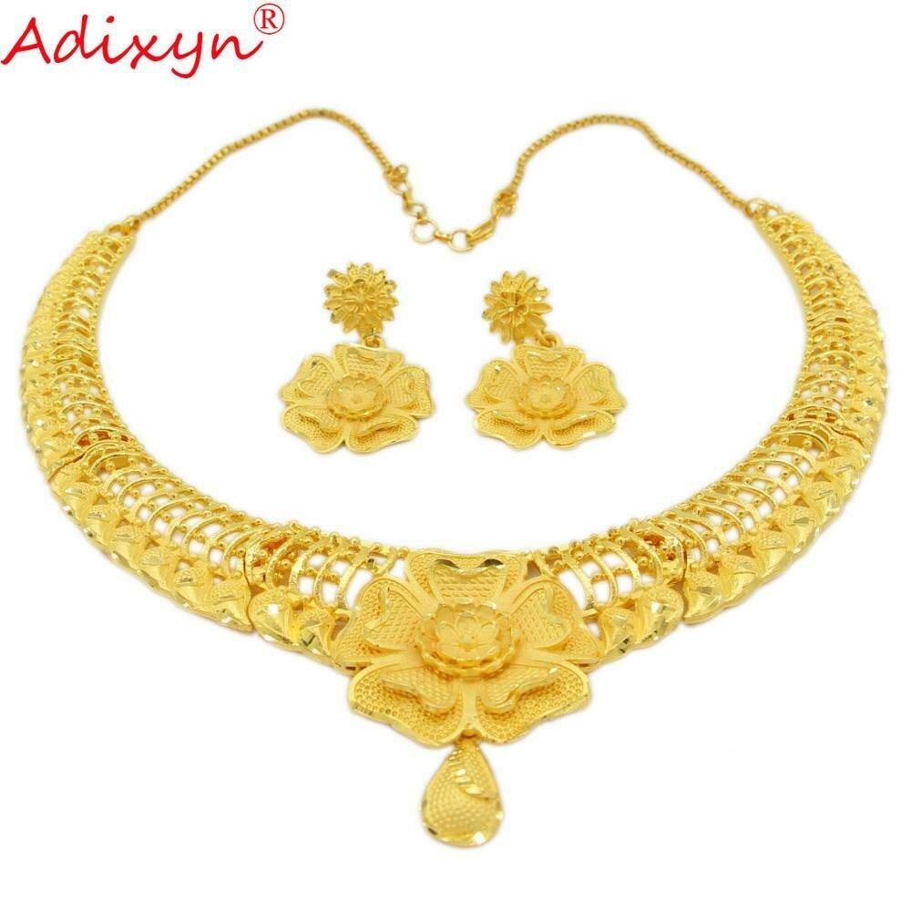 Jewelry-Set Earrings Gold Necklace Elegant Ethiopian/dubai Wedding/party-Gift Women And