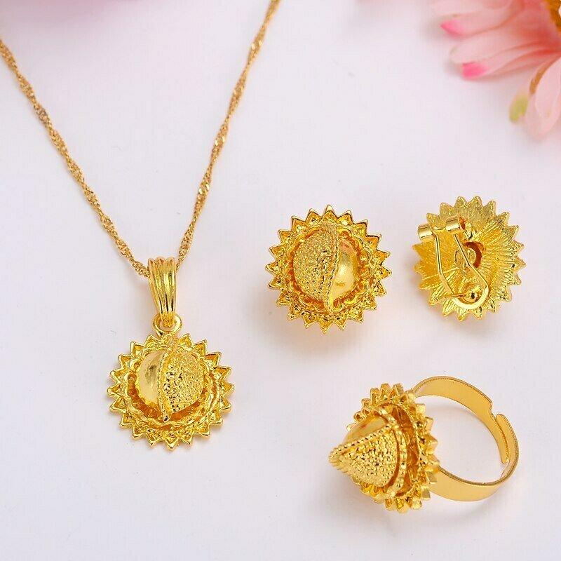 Pendant-Ring Jewelry-Sets Ethiopian Gold Wedding-Gift African Bridal-Habesha Kenyatraditional