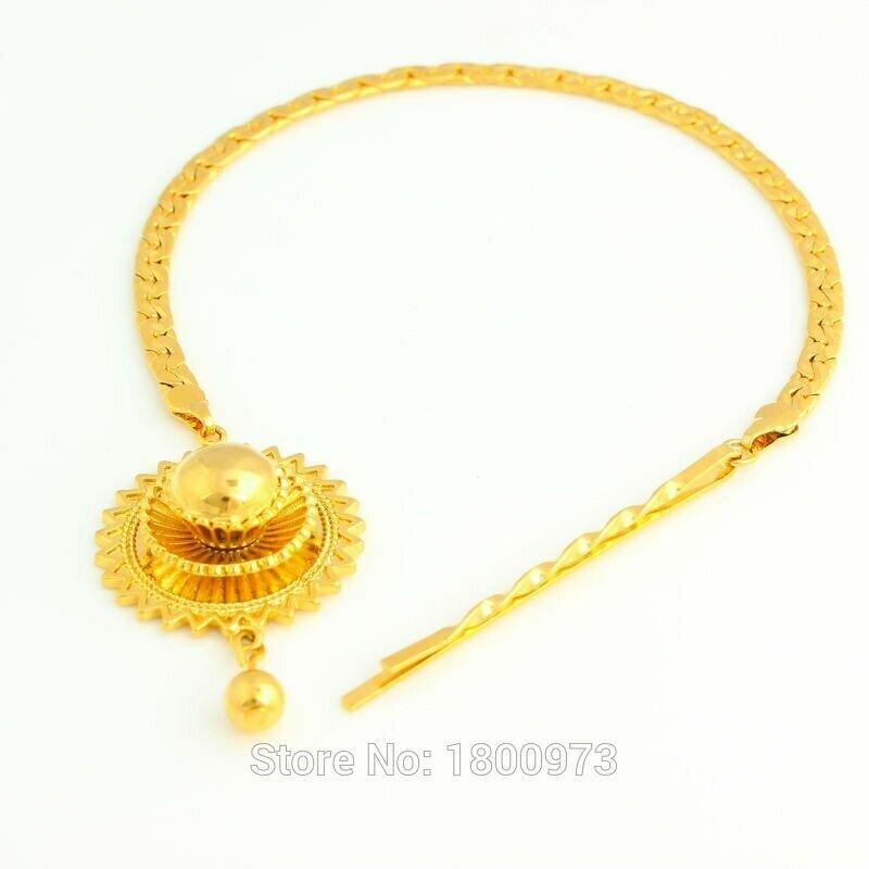 Jewelry Women Habesha Ethiopian Gold Hair-Chain 24k-Gold-Color Eritrea/kenya Adixyn Party-Accessories