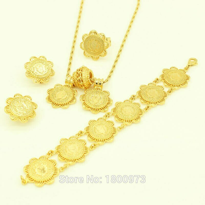 Jewelry-Sets Ethiopian-Coin Wedding-Items Ring/bracelet 24k-Gold-Color Women Newest