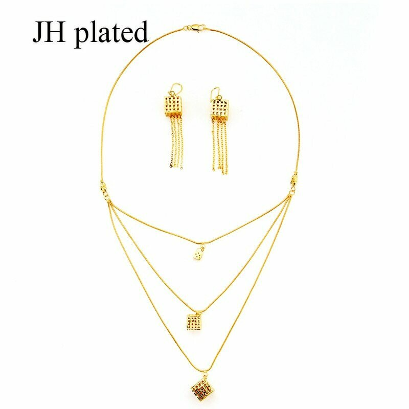 Jewelry-Sets Africa Necklace Earrings Wedding-Gift Nigerian Women Fashion Arab Jhplated