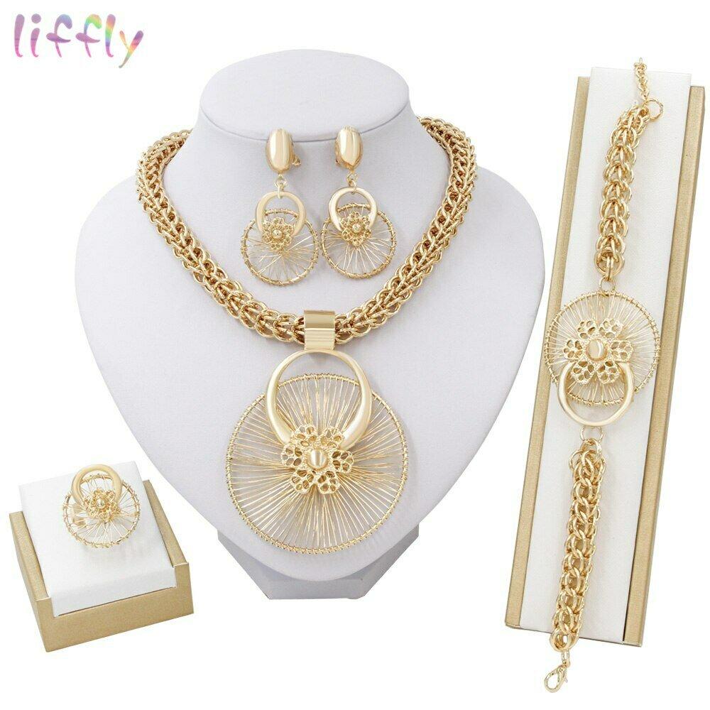 Jewelry-Sets Ethiopian-Costume Big Necklace Wedding-Dubai Gold African Bracelet Bridal