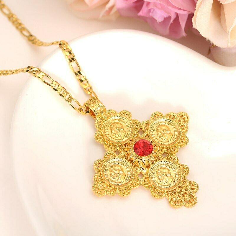 Crystal Pendant Ethiopian Cross-Eritrea Necklaces Jewelry Coin Cz-Stone Gold-Color Women