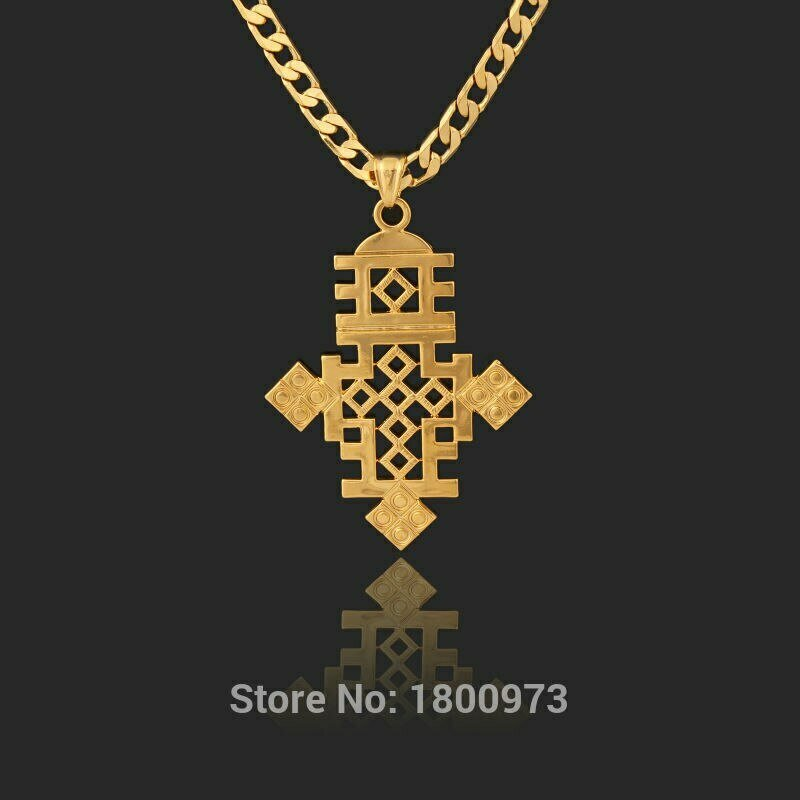 Necklace Jewelry Ethiopia-Item Gold Pendant18k Men Women Cross Filled-Plated-Chain Big