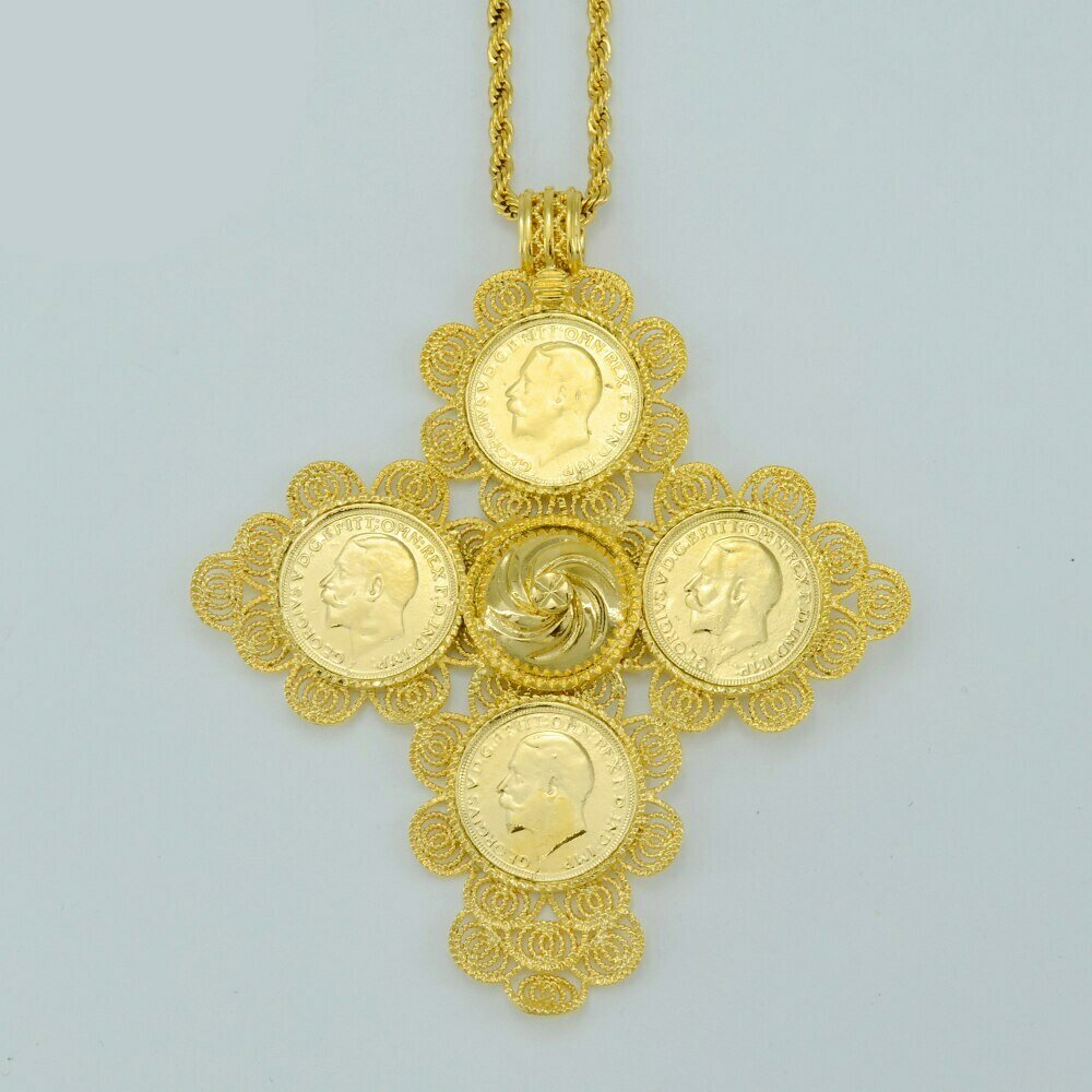 Gold Color Ethiopia Africa Big Crosses Coin Pendant Necklaces for Women Ethiopian Cross
