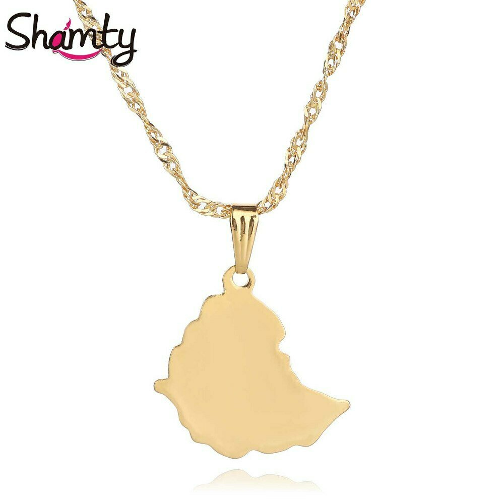Pendant Necklaces Ethiopian-Map Jewelry-Africa Gold-Chain Shamty 25mm Maps Smooth Men