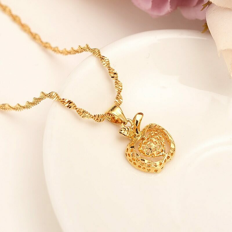 Pendant Necklace Jewelry Ethiopian Gold Heart 18-K Women Flower Solid Apple India Dubai