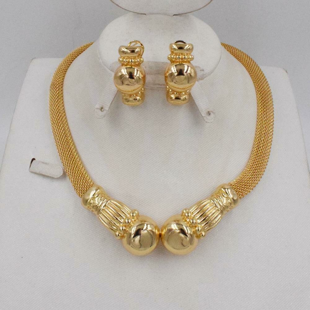 Jewelry-Set Jewlery African Beads High-Quality Earring Italy Gold-Color Women Fashion