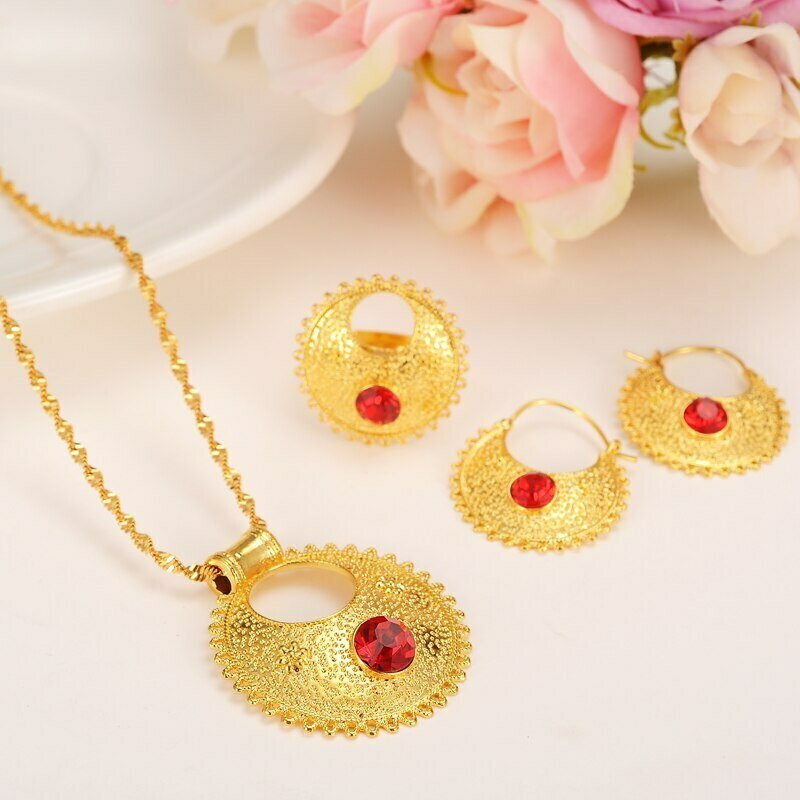 Jewelry-Sets Wedding-Eritrea-Set Ethiopian Pendant Gold-Plate Gift Rhinestone Bride Earrings/ring