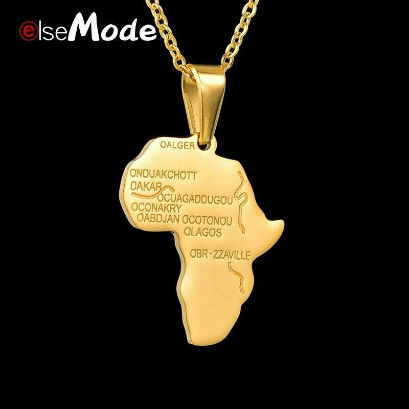 ELSEMODE Stainless Steel Africa Map Pendant Custom Engrave Name Necklace for Women Men