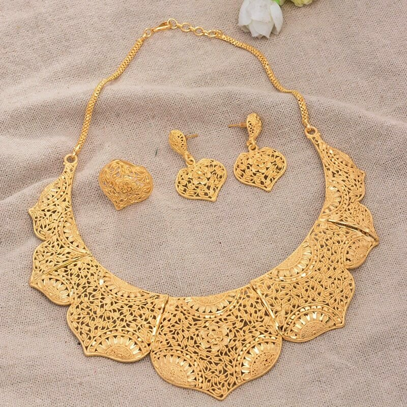 Jewelry-Set Dubai Wedding-Gifts Gold-Color Earring/ring-Middle-East Women African Luxurious