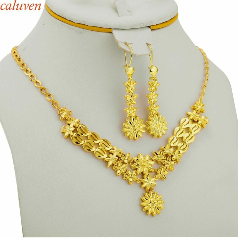 Ethiopian Jewelry-Sets Women/girls Flowers Gifts Necklace/earring Gold-Color Arab/african