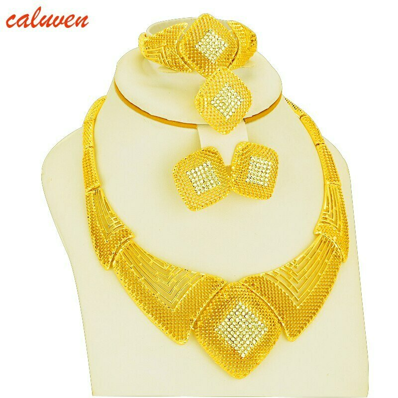 Wedding-Gift Jewelry Ethiopian-Dubai Gold-Color-Sets Arab Bride Necklace/earrings Africa