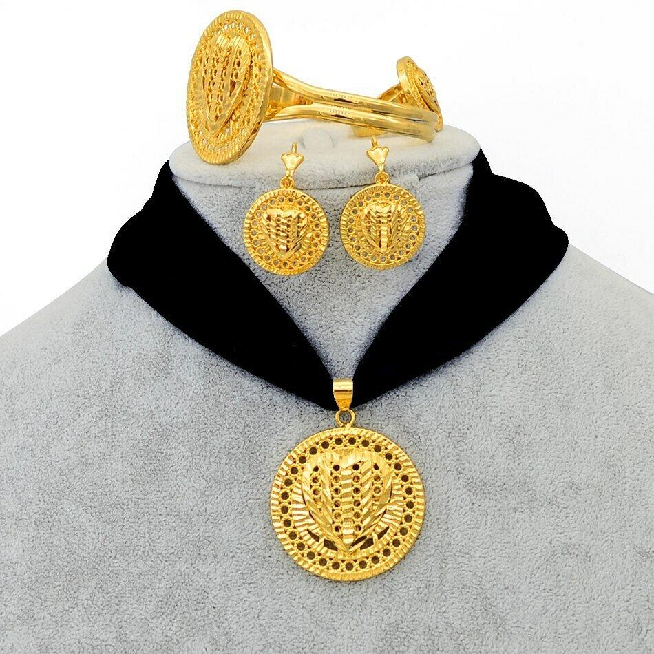 Ring-Bangle Jewelry-Set Ethiopian Habesha Rope-Chain Pendant Earrings Anniyo Heart-Eritrea