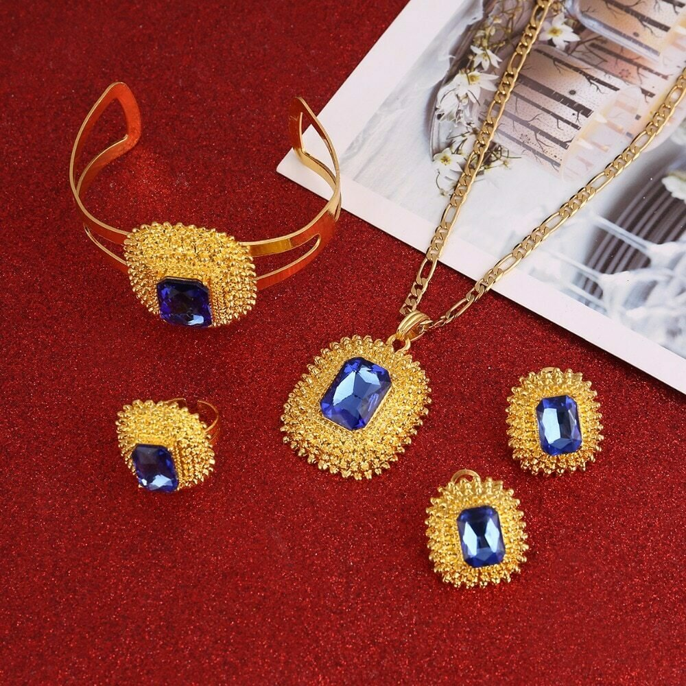 Jewelry-Set Ethiopian Green-Stone African Bride Blue Wedding Eritrea-Habesha-Sets Red