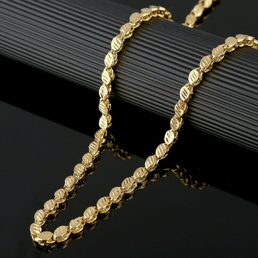 Ethiopian Necklace Thick Chain Gold-Color African Eritrea 53cm-Width 4mm Length